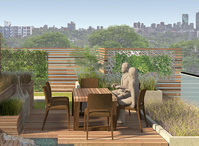 city roof top garden outdoor living